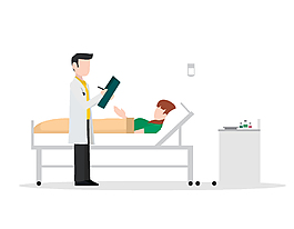卡通醫院醫生查房元素