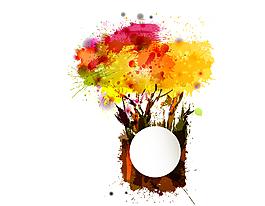 卡通彩色水墨油画花朵元素