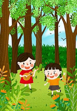 树林里玩甩的2个女孩儿童节背景图