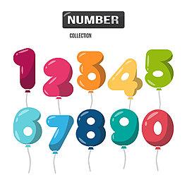 水彩氣球數字素材