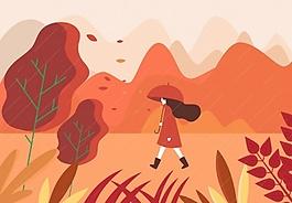 秋天女孩红色图案ai矢量素材下载