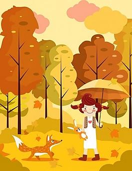 黃色樹林卡通插畫ai矢量素材下載
