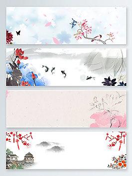 荷花水墨中國風banner背景