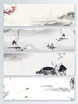 農作水墨中國風banner背景