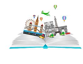书籍里的世界名建筑矢量图