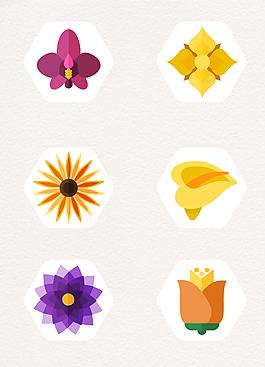 扁平化花朵图标矢量素材