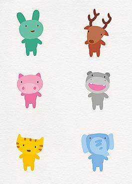 彩色扁平化可愛卡通小動物矢量素材