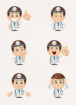卡通门诊医生表情包矢量图