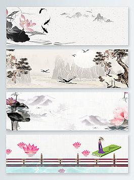 中國風水墨荷花banner背景