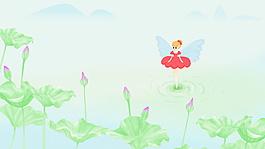 清新夏季荷塘花仙子海報背景圖