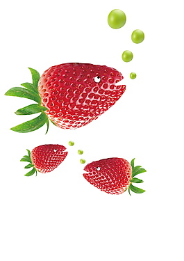甜心草莓奶茶設計元素