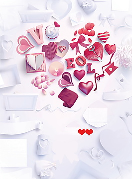 清新浪漫深色愛心廣告背景