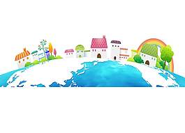 手繪地球上的城市家園