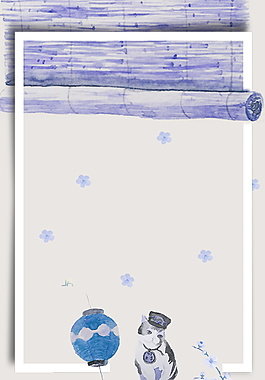 手繪卷簾日系文藝范廣告背景素材