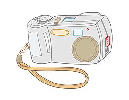 卡通简约线条灰色相机元素