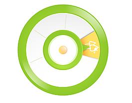 卡通綠色圓環指針矢量元素