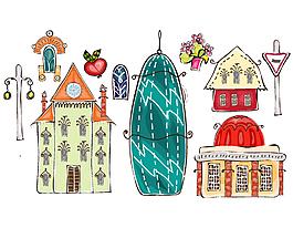 卡通歐式房屋繪畫矢量元素