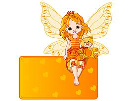 卡通黃色蝴蝶翅膀女孩矢量元素