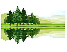 清新卡通綠色草地樹木湖面矢量元素