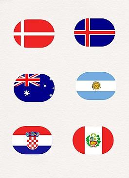 橢圓國家國旗圖案設計