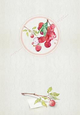 簡約彩繪圓圈里的紅色荔枝廣告背景素材