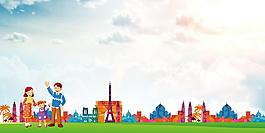 幸福一家三口低碳出行文明城市背景素材