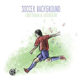 卡通人物踢足球設計元素