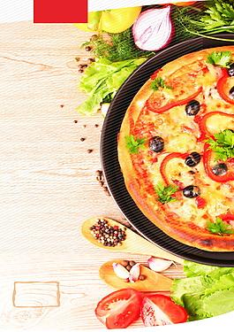 美味新鲜黄色披萨广告背景
