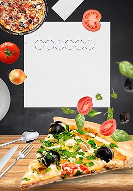 简单风格黄色披萨广告背景