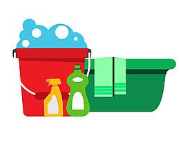 矢量手绘家庭清洁卫生用品