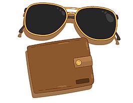黑色遮陽墨鏡與錢包矢量圖