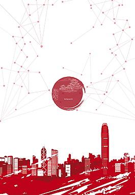 手繪紅色建筑香港旅游背景素材