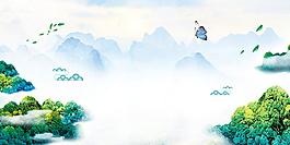 祥和清新山峰廣告背景