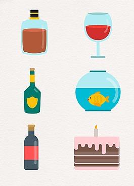 卡通彩色酒杯設計