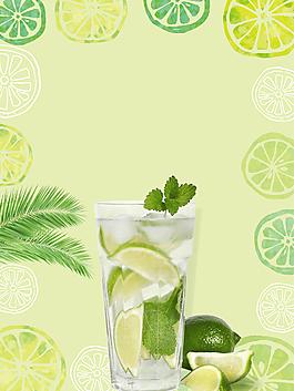 清新冰爽柠檬水背景素材