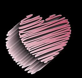 粉色漸變愛心裝飾素材