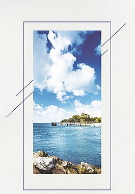 馬爾代夫旅游海洋藍色簡約廣告背景素材