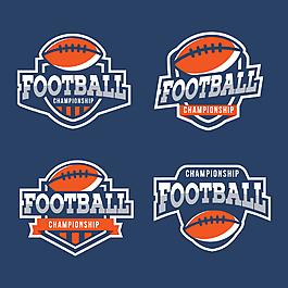 4款藍色足球標簽元素設計