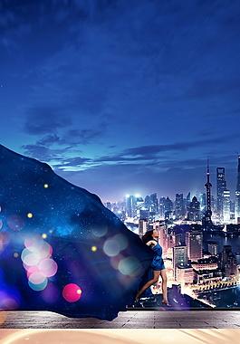 水珠彩光城市房地產廣告背景素材