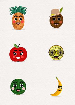创意水果表情矢量素材