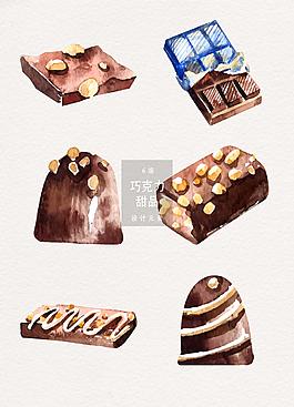 水彩手繪巧克力甜品矢量素材