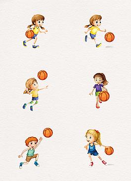 卡通手绘打篮球的人矢量素材