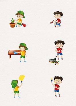 卡通做家務的小男孩生活矢量素材