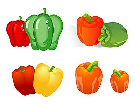 矢量手绘彩色蔬菜青椒
