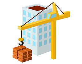 建造中的城市高樓矢量圖