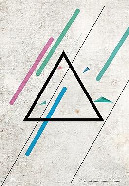 簡約清新黑色三角形廣告背景