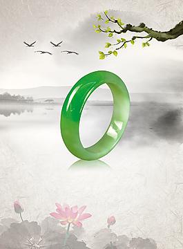 中國風珠寶玉器宣傳海報背景素材