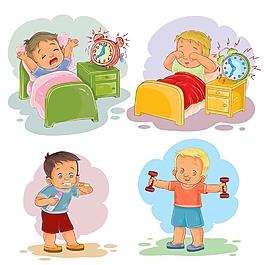 可愛畫風兒童起床裝飾元素