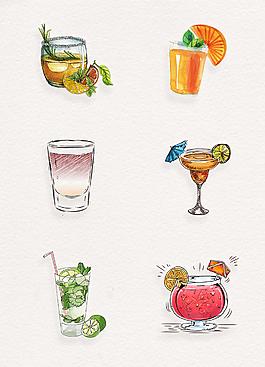 小清新夏季飲料裝飾插畫