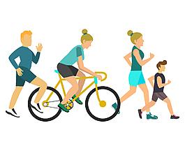 卡通跑步單車運動元素